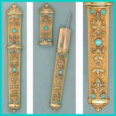 Antique French Solid 22 Ct Gold & Turquoises Needle Case * C1838