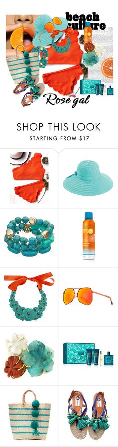 """""""Tangerina...."""" by debjani-d ❤ liked on Polyvore featuring San Diego Hat Co., Liberty, Grey Ant, Versace, Mar y Sol and Lanvin"""