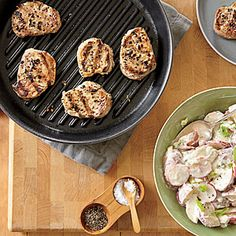 Grilled Pork Medallions with Spicy Potato Salad | Cooking Light (Sept 2014)