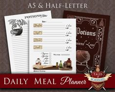 Daily Meal Printable Planner by TalesofWonderland | Potions Theme | Harry Potter | Divider, Notes, Daily Planner | Hogwarts | Filofax, Kikki K
