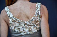 Handmade crochet heart tshirt in beige / Crochet tank by SophieCRO