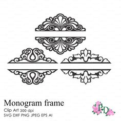 Split wedding monogram frames 300 dpi svg dxf ai by EasyCutPrintPD
