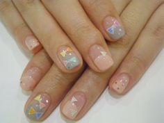 Nails, Nail Art, Nail Design, Manicure, Bows, Glitter, Nail Decals, Hand Placed Glitter, Nude, Peach, Grey, Blue, Orange, Pink, Yellow, Purple