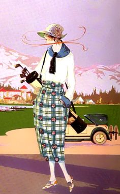 Print from 1922 of woman in plaid golf knickers. Speaking of #Golf #Fashion #LorisGolfShoppe