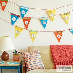 Celebrate achievements -- and inject a little healthy competition into the gathering -- with a display of pennants earned during the event.