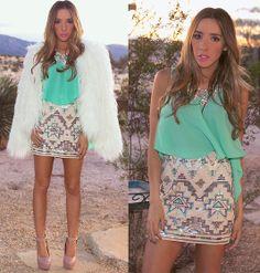 Haute & Rebellious Tribal Sequin Skirt, Haute & Rebellious Teal Chiffon Top, Haute & Rebellious Vintage White Faux Fur Coat, Haute & Rebellious Spike Strap High Heel, Haute & Rebellious Crystal Necklace