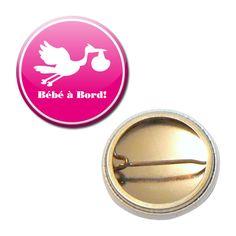 Badge 25 mm - Bébé à Bord ! Baby Cigogne Rose Enceinte Futur Parent : Pins, badges par miss-kawaii
