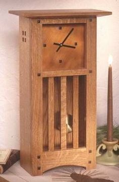 It is hard to beat the elegant good looks of handcrafted mission-style pieces. We have continued that tradition with this handsome 21 inch tall tabletop clock. Quartersawn oak, tapered square buttons,...