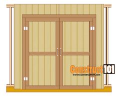 double shed door plans - hinges door handle Shed Plans 12x16, Lean To Shed Plans, Shed Building Plans, Diy Shed Plans, Building Ideas, Building Design, Barn Plans, Shed Door Design Ideas, Shed Design