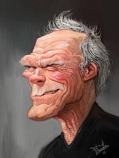 Caricatura del afamado actor y director de cine de Hollywood, Clint Eastwood, realizada por el arti...