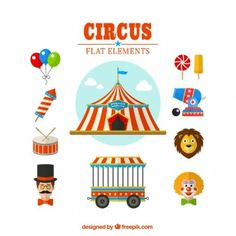 Circus flat elements pack