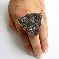 Platinum Pyrite Triangle Ring (