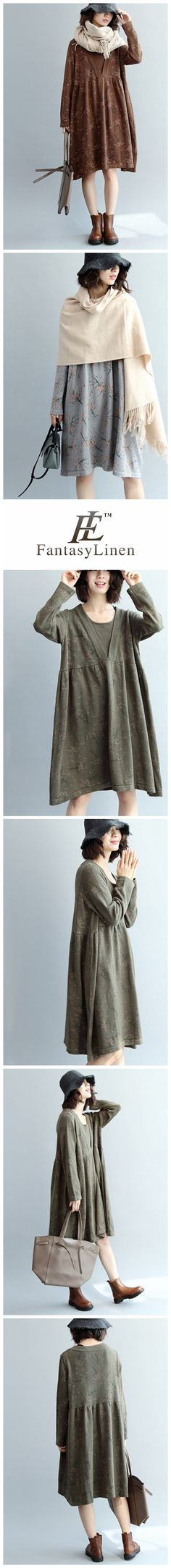 Women Loose Knitted Cotton Dress, Casual Long Sleeve Dress Q7100  Q7100ArmyGreen