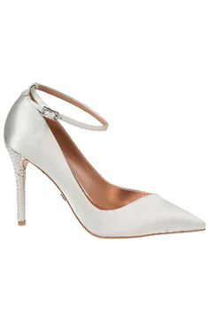 Badgley Mischka Livia Pointed Pumps With Ankle Strap in Ivory