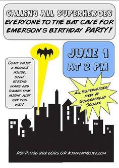 Batman party invitaion