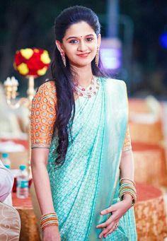 Half Saree Lehenga, Sari, Saree Dress, Blue Saree, Kanjivaram Sarees Silk, Indian Silk Sarees, Silk Saree Blouse Designs, Bridal Blouse Designs, Simple Sarees