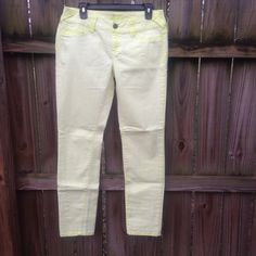 Maurice's Light Yellow Skinny Colored Pants Jeans Light yellow color with neon yellow stitching! Very comfy colored pants/jeans! Maurices Pants Skinny