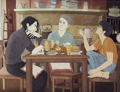 This fanart depicts Harry and Snape in a odd, uncanonical domestic scene in which Harry is at Snape's family home with his mother. The artist's intention was to depict a scene from a fanfiction in which Snape had informally adopted Harry, a complete alternate universe from the books.