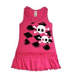 Argyle Skull Hot Pink Sleeveless Dress