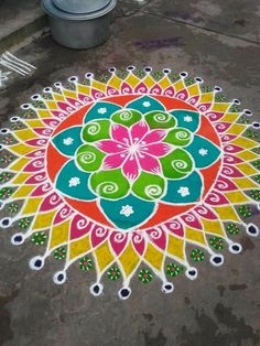 Indian Rangoli Designs, Simple Rangoli Designs Images, Small Rangoli Design, Beautiful Rangoli Designs, New Year Rangoli, Diwali Rangoli, Alpona Design, Rangoli Colours, Latest Rangoli