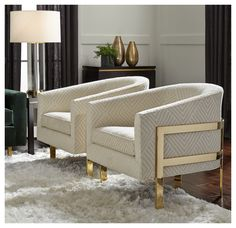 AVERY CHAIR POLISHED BRASS - I like the subtle pattern and the brass detail for the living room