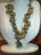 Vintage Red Yellow Blue Beaded Celluloid & Natural Shell Necklace