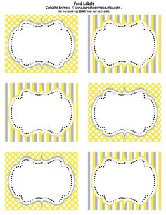 free labels printable | Free Printable Yellow and Grey food labels& Cupcake wrappers!!!