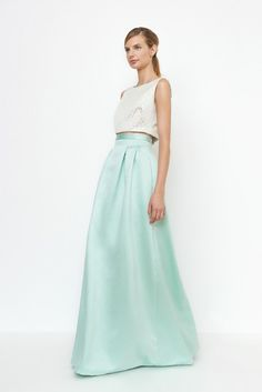 Best Quality Mint Green Long Skirt High Waist Invisible Zipper Pleated Maxi  Skirt for Women Formal Party Prom Skirt Custom Made 1aaa376b30d5