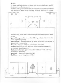 Parts of a castle printable with vocabulary words