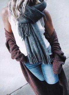 oversized scarves + cardigans