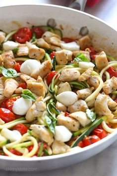 Chicken and Zucchini Noodle Caprese | Skinnytaste