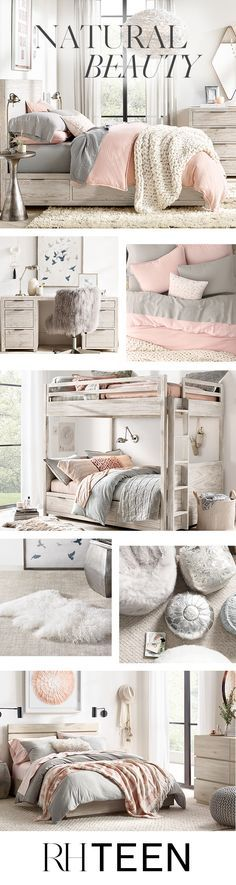 Clean silhouettes paired with cozy textures, calm colors and loads of layers create a carefree and confident look. Shop this style at RH TEEN. - Teen Bedroom Ideas - #teenbedroom #bedroomideas #girlbedroom #boybedroom