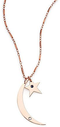 Jennifer Zeuner Jewelry Everly Sapphire & Diamond Crescent Star Double-Pendant Necklace
