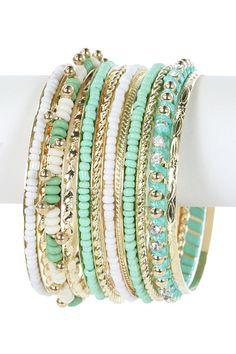 Multi Beaded Stone Bracelet Set $26 shopmodmint.com