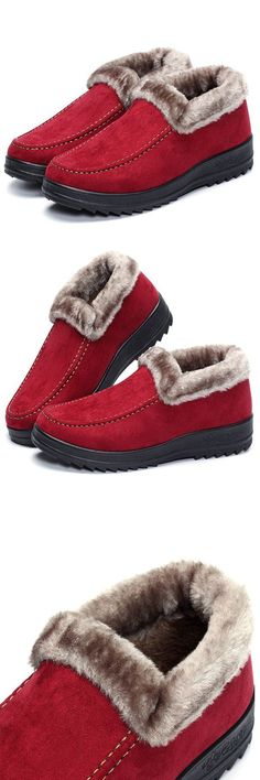 red suede and faux fur winter shoes
