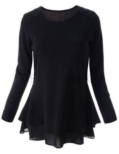 (WTGB03-BLACK) Womens Slim Round Neck Chiffon Ruffle Shoulder Patch Long Sleeve Blouse