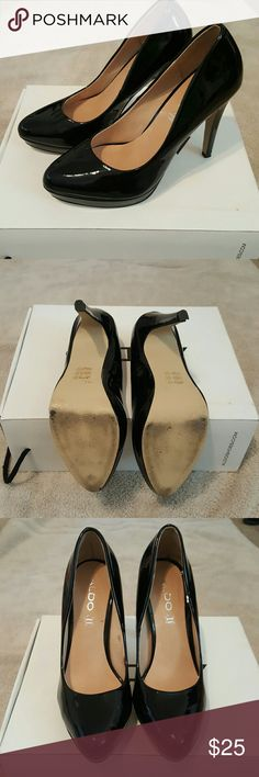 Patent leather black heels Great condition. Only minor scuffs but no scratches. Comes with original box Aldo Shoes Heels