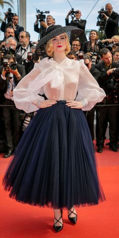 Elle Fanning brought an extra dose of glam to the Cannes red carpet in Christian Dior sheer blouse, flare skirt, black hat, and criss-cross pumps. Elle Fanning, Couture Fashion, Runway Fashion, Womens Fashion, Look Fashion, High Fashion, Fashion Design, Elle Fashion, Beautiful Dresses