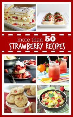 More than 50 Strawberry Recipes - everything from appetizers and drinks to salads and desserts. With so many recipes to chose from, what will you make next? #strawberry