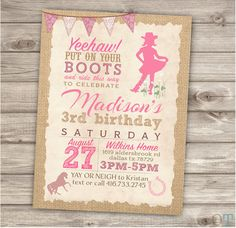 Horse Cowgirl Invitations Birthday Rustic Lace van cardmint op Etsy
