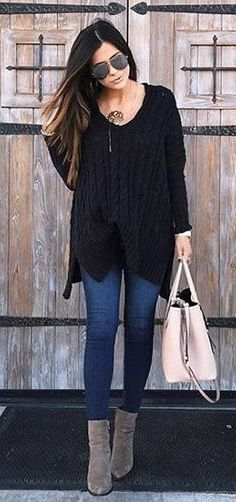 #winter #fashion /  Black Knit / Navy Skinny Jeans / Grey Suede Booties / Pink Leather Tote Bag