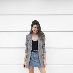 denim skirt black top grey plaid blazer