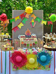 Beautify a Brazil-inspired party with bright lanterns, banners, and strands of lights.
