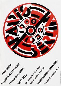 """Exhibition poster by Roman Cieslewicz, 1978, """"Paris-Berlin, Rapports et contrastes"""", Centre Pompidou."""
