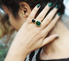 Mystic Green Jade and Black Onyx Ring  Gemstone by mysticdukkan, $48.00