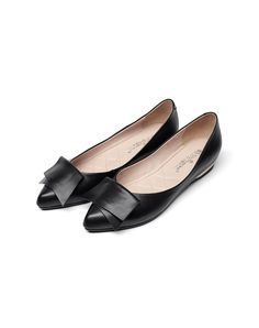 #AdoreWe #VIPme Flats - universe Black Cow Leather Pointed Toe Feminine Flats  - AdoreWe.com