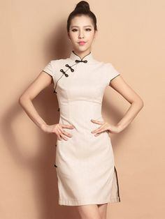 Beige Custom Tailored Short Qipao / Cheongsam Dress