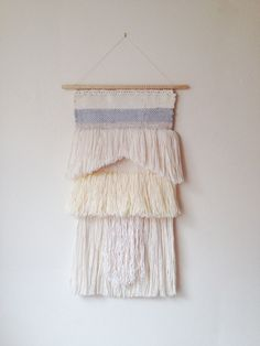 Neutral Woven tapestry shades of white fringe wall by WallandWoven, $135.00