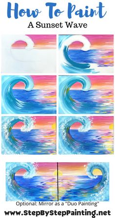 Simple Canvas Paintings, Easy Canvas Painting, Happy Paintings, Diy Canvas Art, Diy Painting, Acrylic Wave Painting, Wave Paintings, Canvas Painting Tutorials, Acrylic Painting Techniques