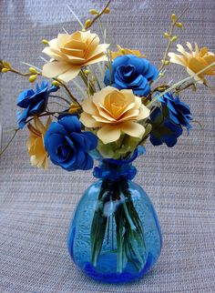 Paper Flower Arrangement Blues and Yellows by SweetPeaPaperFlowers, $23.00